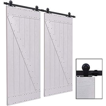 CCJH 6FT-183cm Herraje para Puertas Kit de Accesorios para Puerta Correderas Juego de Armarios de Acero Corredizos para Puertas Corredera Riel Rueda para Puertas de Madera Dobles: Amazon.es: Bricolaje y herramientas