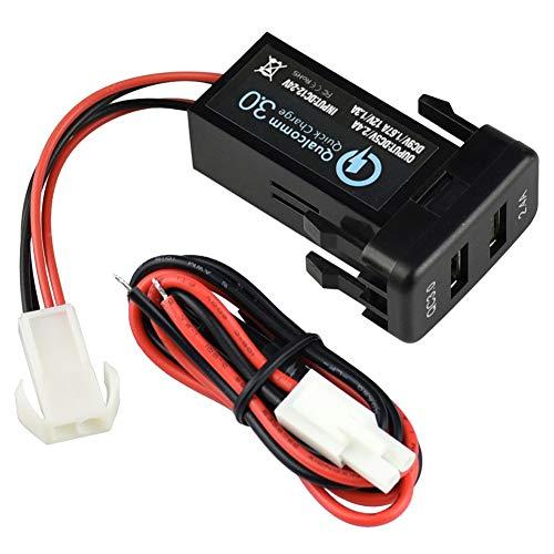 ZIXIXI Cargador de coche dual USB en coche adaptador de carga rápida de carga rápida Dual USB 2.0 – para Toyota con protección contra cortocircuitos