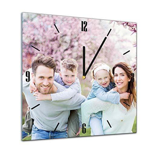 Bilderdepot24 Glasuhr Wunschmotiv - Gestalte Deine eigene Uhr - 40x40cm - Handmade in Berlin - Personalisierbar mit Ihrem Bild - Geschenkidee, mit Ihrem eigenem Foto - Kind - Familie