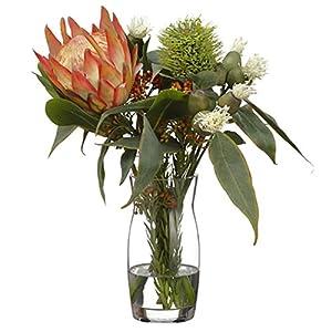 16″ Hx15 W Protea, Eucalyptus & Wolly Silk Flower Arrangement -Orange/Green