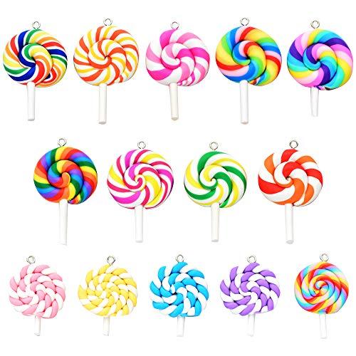 28 Pezzi Colorato Lecca-Lecca Pendente Lollipops Ciondoli in Argilla per Orecchini Collana Braccialetto Creazione Gioielli,14 stili * 2 pezzi