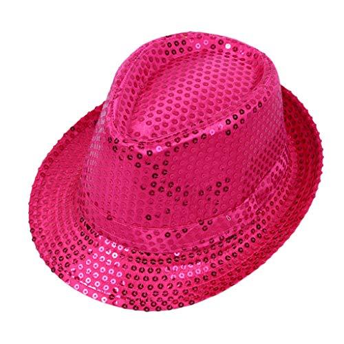 BELTI Sombrero de Jazz con Lentejuelas Brillantes para nios Adultos, Color slido con puos de ala Ancha, actuacin, Escenario de Baile, espectculo mgico, Bar, Gorra de Fiesta, Disfraz