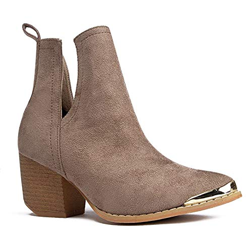 J. Adams Tess Booties for Women - Nude Faux Suede Metal Pointed Toe - 9
