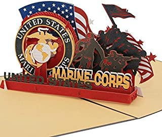 Sweet Land of Liberty Brave Soldiers of U.S. Army - 3D Pop Up Greeting Card - Father's Day Gift Birthday Card, Graduation Card Anniversary Card (Marine) By AITpop