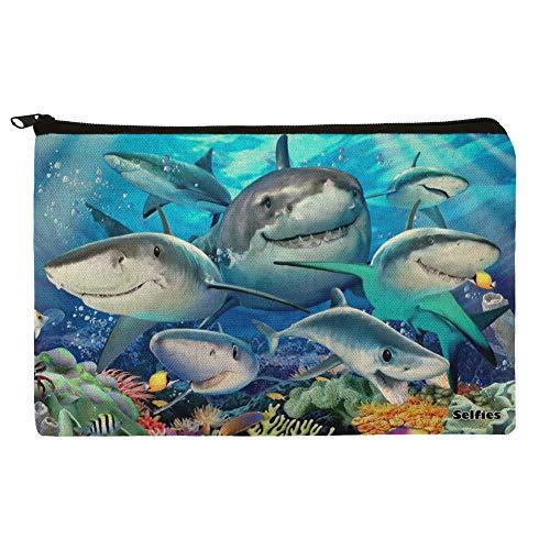 Shark Ocean Selfie Pencil Pen Organizer Zipper Pouch Case