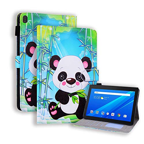 Miagon Slim Case for Lenovo Tab P10 (X705F/X705L)/M10 (X605F) 10.1',Stand Case Cover with Pencil Holder Magnetic/Card Slots PU Leather TPU Bumper Protective Case,Bamboo Panda