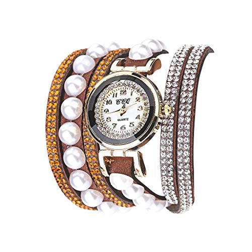 Damen Armband Uhr, Luotuo Frauen Dial Analog Quartz Armbanduhr Mehrere Samt Gurte mit Glänzender Kristall und Perle, 40CM Uhrenarmbänder, 26MM Exquisit Schmuck