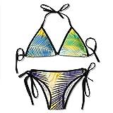 KL Decor Traje De Baño,Color Palm Leaves Bikini De Mujer Set Bikini con Estampado Ajustable Trajes De Baño