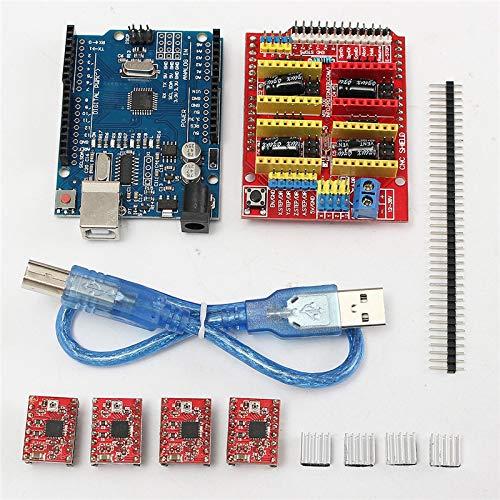LWQ 4 x A4988 Schrittmotortreiber mit Kühlkörper + CNC-Schilderweiterungsplatine + R3-Platinenkits für Arduino Engraver 3D-Drucker