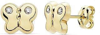18K Gold Butterfly Earrings 7.5mm. Zircons Wings [Ab8922]