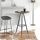 GOLDFAN Stehtisch Rund Holz Moderner Bartisch Tresentisch Küchentheke Küchenbar für Küche Wohnzimmer Bar mit Metallbeine Braun