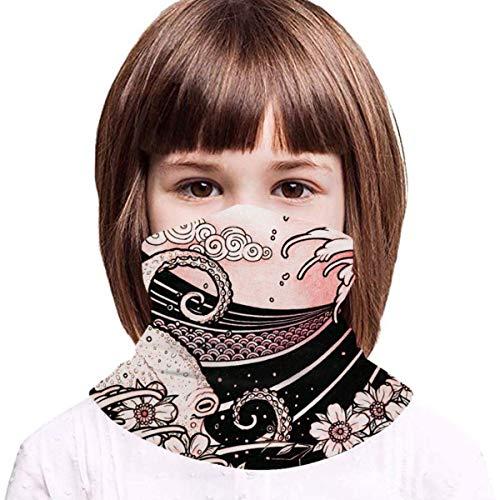 WH-CLA Estilo De Tatuaje Japonés para Niños Bufanda Facial Impreso Bufanda Unisex Pasamontañas Customed Polainas De Cuello para Partido Cámping Caza