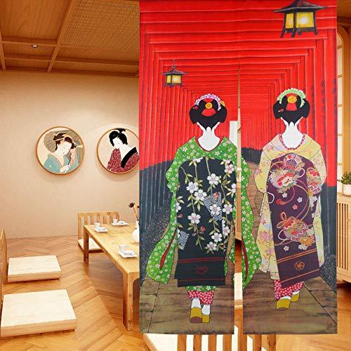 LIGICKY Noren Cortina para puerta estilo japonés Kyoto Geisha Girls en Fushimi Inari Santuario largo tipo tapiz para puerta para decoración del hogar 85 x 149 cm