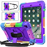 BMOUO iPad 6th Generation Case,iPad 5th Generation Case,iPad 9.7 Case 2018/2017,iPad Air 2 Case,3 Layer Shockproof [360 Swivel Stand][Hand Strap][Pencil Holder] Kids Case for iPad 9.7 inch 2018/2017