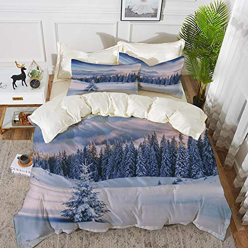 Derun Juego de Fundas de edredón,árboles snovy en Las montañas de Invierno...