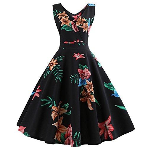 TEBAISE Elegant 1950er Vintage Sommer Rockabilly V-Ausschnitt Kleid Retro Cocktailkleider Schwingen Kleid Faltenrock Karneval Fasching Fasnacht Abendkleid Partykleid Knielang