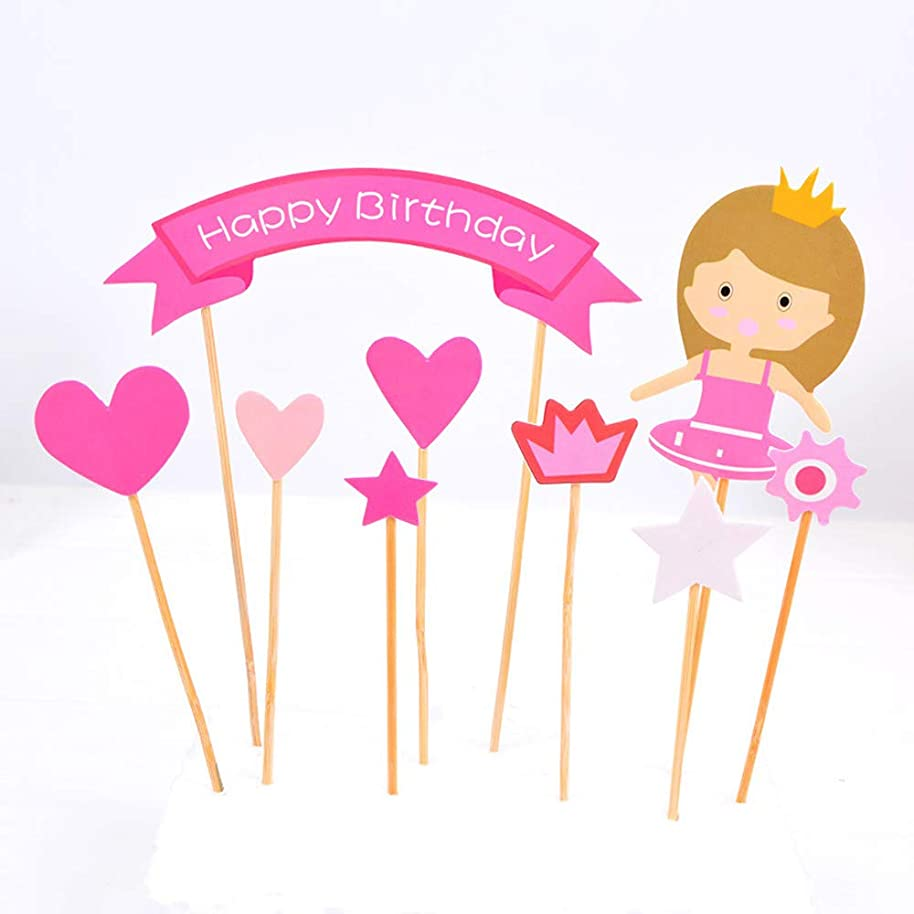 Cake Topper Happy Birthday Cupcake Decoration for Birthday Girl, with Flag, Hearts, and Stars, Pink