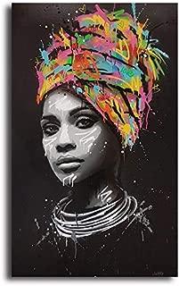 Orlco Art - Cuadro moderno de lienzo con plumas indias nativas americanas para sala de estar, decoración del hogar, arte pop africano, arte de graffiti, colorido, D, 8x16Inch With the frame