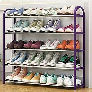 Zapatero de 4 capas, zapatero para almacenamiento de zapatos, puede contener hasta 12 pares de zapatos, zapatero de piso creativo de dormitorio de pasillo de baño de múltiples capas/Purple