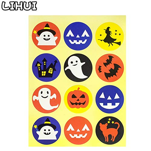 5 PCS Halloween Ghost Stickers Funny Toys for Children Pumpkin Decals to Stick on Face Party Decor Laptop Case Candy Bag Labels