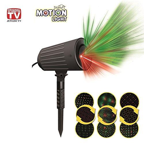 Starlyf Motion Shower Light, Beleuchtungssystem Projektor geeignet für Innen und Außen, Lichtfarbe Rot, Grün - Das Original Produkt aus TV-WERBUNG!