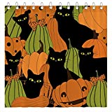 Funnytree Halloween Pumpkin Black Cats Shower Curtain Set with Hooks Colorful Fall Autumn Holiday Bathroom Bathtubs Decor Easy Care Washable Durable Polyester Fabric 72'x72'