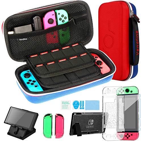 Kit Accessori 4 in 1 per Nintendo Switch, Include Vendfine custodia trasporto per Nintendo Switch / Cover Protettiva Trasparente / Film protettivo temperato / Supporto regolabile(Rosso/Blu)