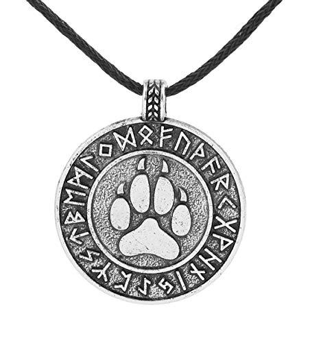 LIKGRAN - Collar con colgante redondo para hombre, diseño de garra de lobo vikingo eslavo y runas