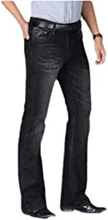 neveraway Men Casual Washed Mid Waist Slim Fitted Denim Pants with Pockets