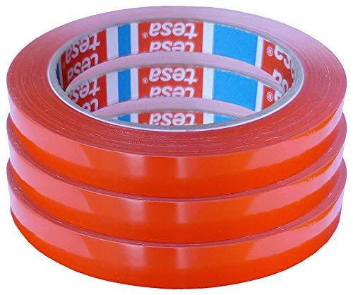 TESA Klebeband Markierungsband tesafilm 4204 PVC rot, 12mmx66m | Ideal für Tischabroller und Beutelverschlußmaschinen, 3 Rollen, Rot