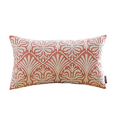 HWY 50 Coral Pink Throw Pillows Covers for Couch Sofa Bed 12 x 20 inch, 1 Pc Cotton Decorative Embroidered Throw Pillow Cases, European Geometric Lumbar Pillowcases