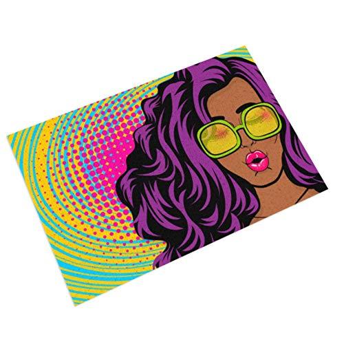 Felpudo Interior/Exterior Entrada Interior PVC Antideslizante e Impermeable, fácil de Limpiar Alfombrillas Interiores para Puerta de Entrada Alfombrillas Negras Estilo Joven Pop Art Woman de 16 x 2