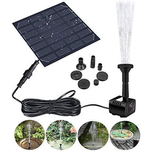 Greens Solar Fountain, Solar Pond Pump with 3 Effects, Solar Water Pump, Solar Floating Fountain, Pump for Garden Ponds or Bird Bath/Fish Tank Fountain