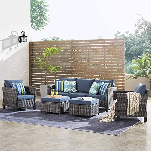 ovios Patio Furniture Sets 5 PCS Outdoor Wicker High-Back Sectional Sofa Set Patio Conversation Sets All Weather Rattan Sofa with 2 Pillows Garden Backyard, Steel (Grey-Denim Blue)