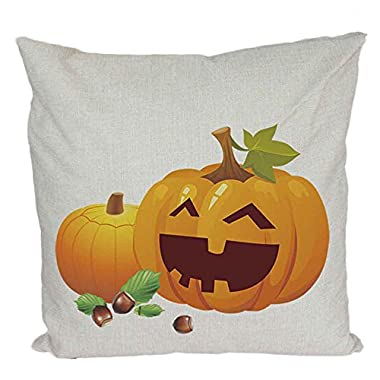 Napoo Happy Halloween Pillow Cases, Cute Halloween Pumpkin Square Throw Linen Pillow Case Cushion Cover Home Sofa Decor With Invisible Zipper Closure 18 X 18 Inches (D)