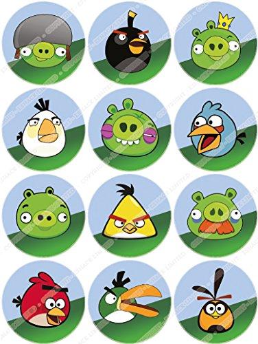 Toppershack 12 x decoración para pasteles comestibles PRECORTADAS de Figuras de Angry Birds