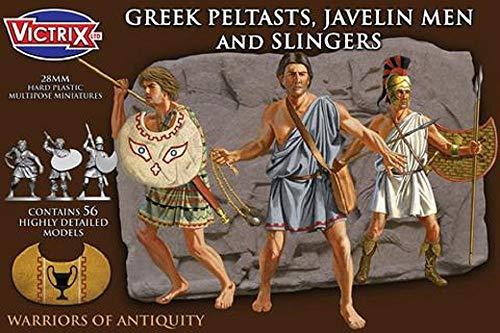 Victrix VXA006 - Griechische Peltasten, Speermenschen und Schleuderer - 56-Figuren-Set - 28-mm-Kunststoffminiaturen - Griechische Vorfahren - Krieger der Antike