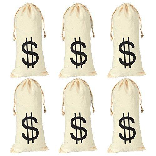 Juvale Confezione da 6 sacchetti grandi con chiusura a cordoncino, con simbolo del dollaro, per bomboniere umoristiche, color panna, 15,5 x 32,5 cm