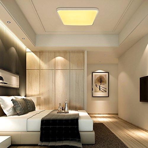 VINGO® 60W LED Deckenleuchte warmweiß Eckig Wohnzimmerlampe Esszimmerlampe Schlafzimmerleuchte Badezimmerlampe spritzwassergeschützt energiesparend
