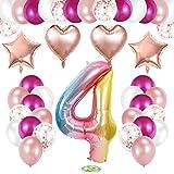 TOPHOPE Luftballon 4. Geburtstag Rosa Happy Birthday Folienballon Luftballon Zahlen Geburtstagsdeko 4 Jahr Riesen Folienballon Zahl 4 Ballon 4 Deko zum Geburtstag Rosa