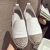 QIMITE Damen Slippers Espadrilles,Europäische Espadrilles Schuhe Frau Leder Creepers Wohnungen Damen Loafers Weißes Leder Mokassins, Fotofarbe, 37