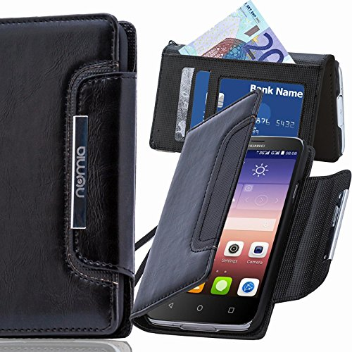 numia Huawei Ascend G730 Hülle, Handyhülle Handy Schutzhülle [Book-Style Handytasche mit Standfunktion & Kartenfach] Pu Leder Tasche für Huawei Ascend G730 Hülle Cover [Schwarz]