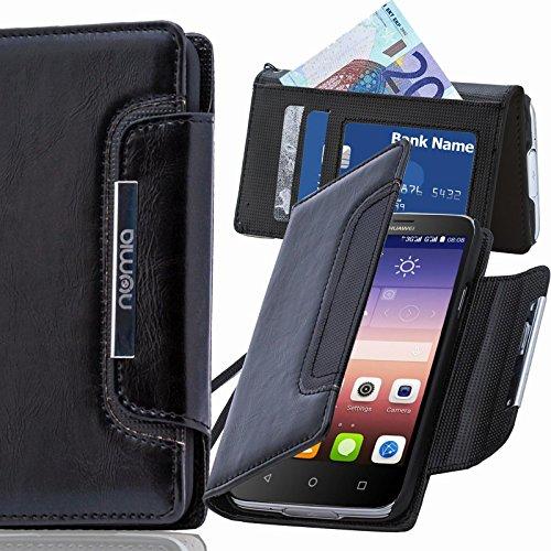 numia Huawei Ascend G630 Hülle, Handyhülle Handy Schutzhülle [Book-Style Handytasche mit Standfunktion & Kartenfach] Pu Leder Tasche für Huawei Ascend G630 Hülle Cover [Schwarz]