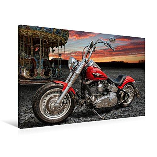 Premium Textil-Leinwand 90 x 60 cm Quer-Format Harley-Davidson Fat Boy Bobber Chopper | Wandbild, HD-Bild auf Keilrahmen, Fertigbild auf hochwertigem Vlies, Leinwanddruck von N N