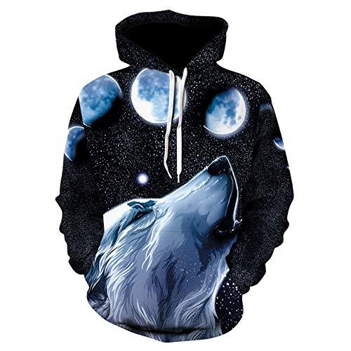 Sudadera con capucha Wolf para niños y niñas, hip hop, con cabeza de lobo 3D, para altura de 100 a 160 cm