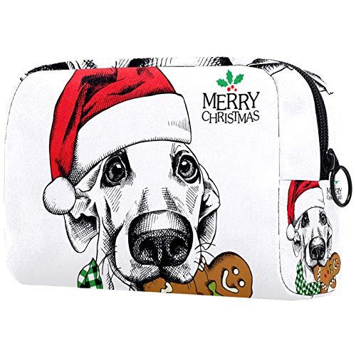Kosmetiktasche Make-up Taschen für Frauen, Kleine Make-up Tasche Reisetaschen für Toilettenartikel - Weihnachten lustige Hund Santa Hat mit Lebkuchen