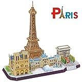 CubicFun Puzzle 3D Cityline Notre Dame de Paris Tour Eiffel Modèle Cadeau et Souvenir pour Adultes et Enfants, 114 Pièces