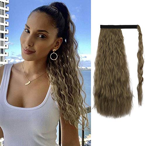 Sofeiyan Ponytail Extension 20 Inch Long Curly Wave Wrap Around Synthetic Hair Extension for White Black Women Party Daily Use, Light Golden Brown & Pale Golden Blonde