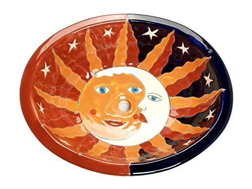 Solaluna – Lavabo ovalado mexicano ovalado con borde de cerámica Talavera Lavabo de México