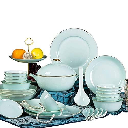 Peakfeng Set de vajilla de gres de glaseado, 46 Piezas de Platos de Cena de cerámica Hueso de Platos de China para Restaurante/Hotel/Fiesta, Verde